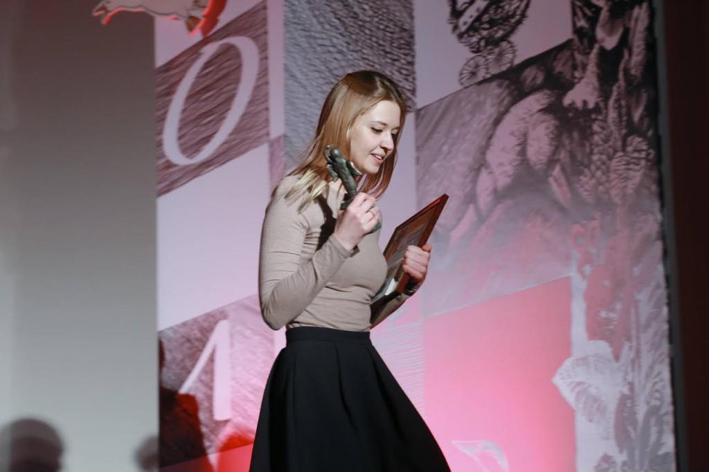 Полина Минченок во время вручения наград на анимационном фестивале в Суздале